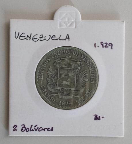 moneda venezuela 2 bolívares 1929 plata xf
