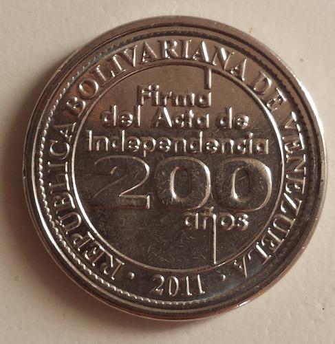 moneda venezuela 25 céntimos 2011 conmemorativa 200 años unc
