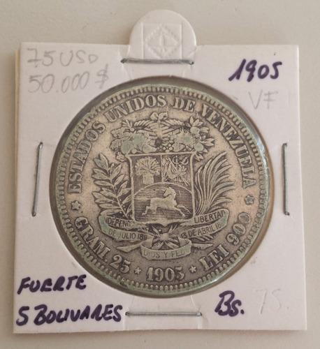 moneda venezuela 5 bolívares 1905 plata vf+