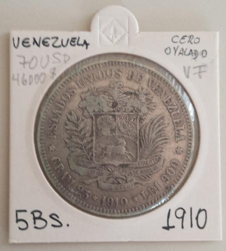 moneda venezuela 5 bolívares 1910 cero ovalado plata vf+