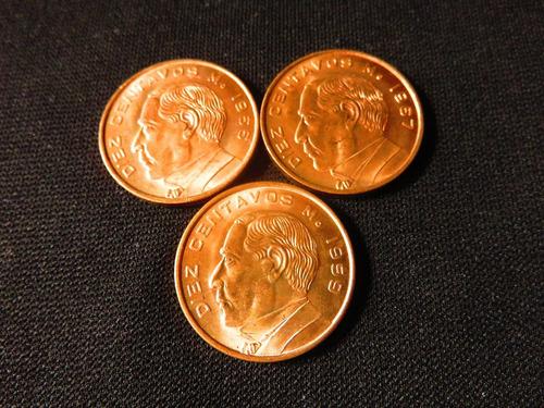monedas 10 centavos juarez 3 pzas 1959 1966 1967