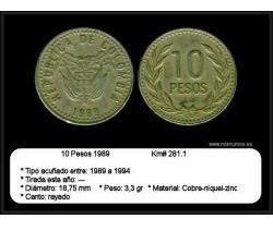 monedas 10 pesos colombia 1989-1990