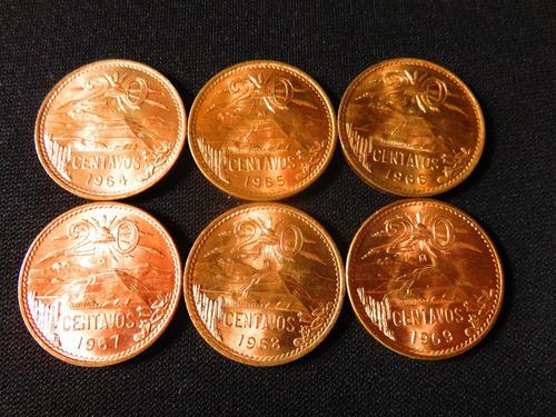 monedas 20 centavos teotihuacan 6 pzas 1964 a 1969 hermosas