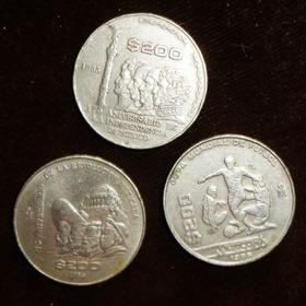Monedas 200 Pesos 1985 1986 Futbol Revolucion Independencia