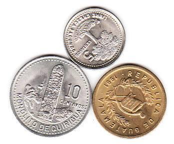 monedas 3 de buatemala