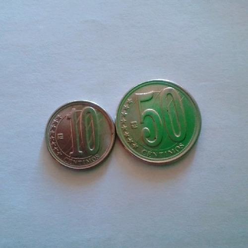 monedas 50 y 10 centimos error en la palabra venezuela 2012