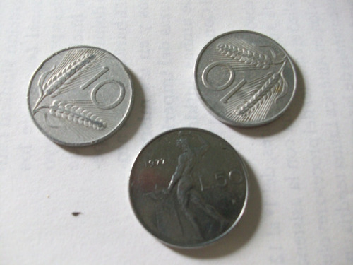 monedas antigua lote fuera circulación italia 1952 70 y 77