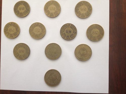 monedas antiguas bronce un sol de oro  1943 - 1965