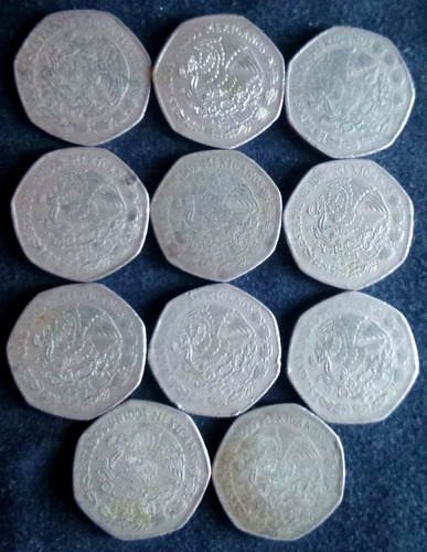 monedas antiguas de 10 pesos hidalgo méxico 1974 - 1985