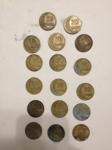 monedas antiguas perú 20 centavos. 1941-1965.