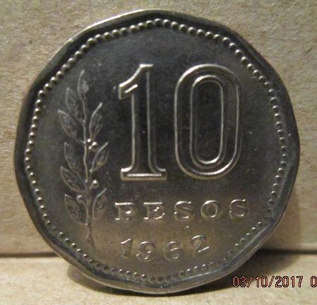 monedas argentina 10 pesos 1962