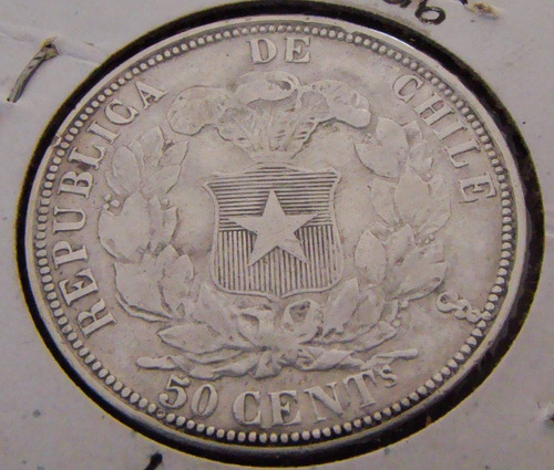 monedas chile medio peso, 50 centavos plata 1865, pechugón