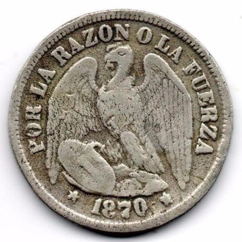 monedas chile medio peso, 50 centavos plata 1870