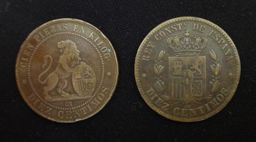 monedas cinco y diez centimos - españa (1870-1878)