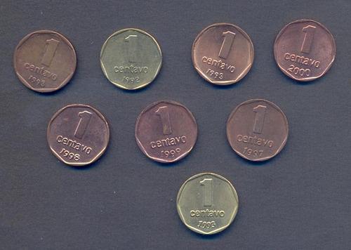 monedas de 1 centavo de peso actual x 8 diferentes