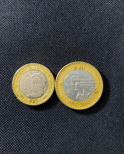 monedas de $20 octavio paz y $10 batalla de puebla