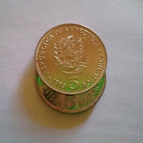 monedas de 5 bolivares de 1989 bariantes en fechas grandes y