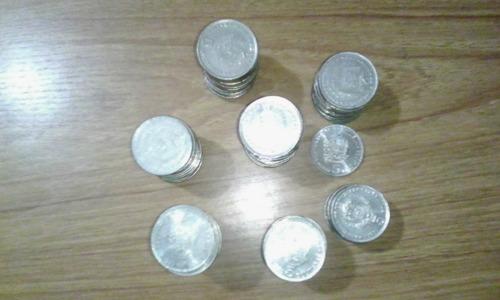 monedas de 5 bolívares de niquel de los años73,77,87,88 y 89