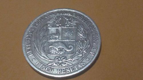 monedas de 5 pesetas de plata  del año 1880 en buen  estado