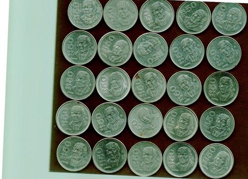 monedas de 50.00 de los 80´s benito juarez lote de 25 moneda