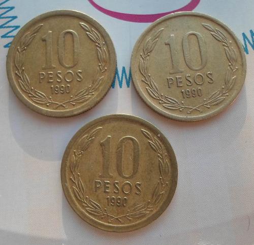 monedas de chile 10 pesos 1990 tres variantes   ( n c )