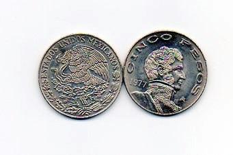 monedas de cinco pesos de los 70´s lote de 20 monedas
