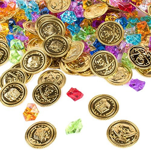 monedas de oro del pirata tesoro enterrado y gemas piratas j