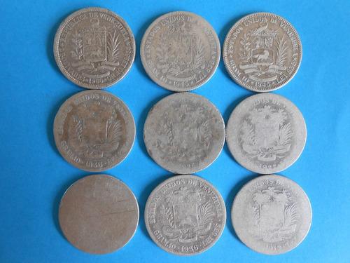 monedas de plata bs.2,oo años 1912-22-35-36-45-60-??.