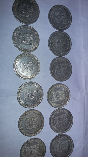 monedas de plata de 0,25 (medios) ley 835 año1954 y1960