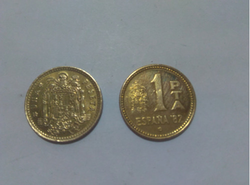 monedas española de pesetas del rey juan carlos, 1975, 1982.