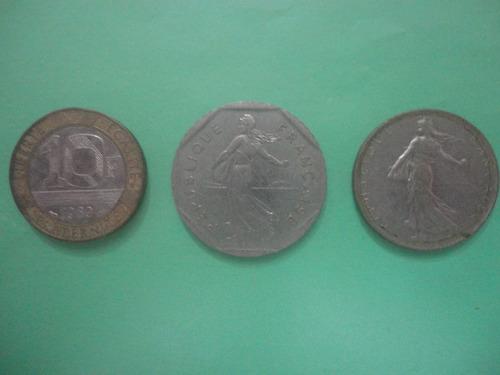 monedas francia 10francos (1989) - 2f (1981) - 1f (1978).