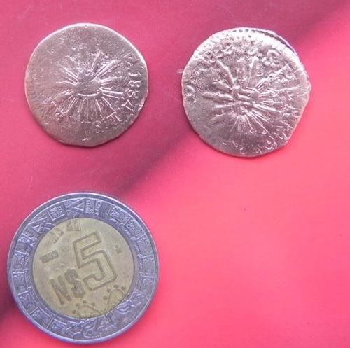 monedas  méxico 2 1/4 reales  hermosillo sonora cobre