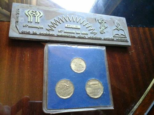 monedas mundial 78 y antigua placa mundial 78