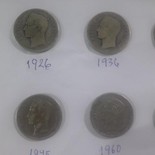 monedas plata 2 bs. años 1900: 05/19/22/26/36/45(2) y 60(2)