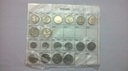 monedas uruguayas.serie nuevos pesos.del 80 al 89.lote 18m.