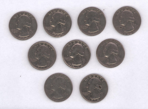 monedas usa set x 9 quarter 1970's anv washington rev aguila