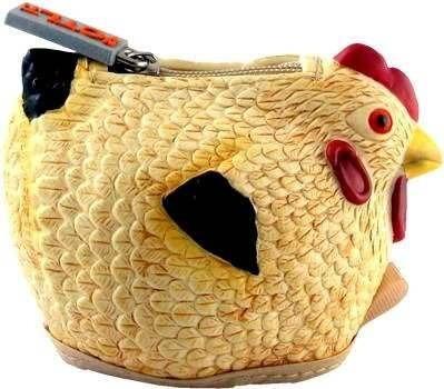 monedero de pollo de goma: bronceado multicolor!