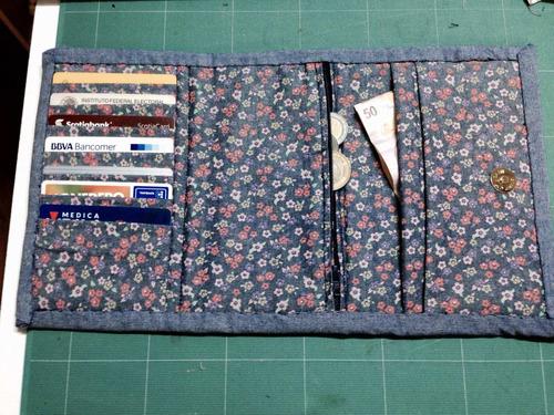 monedero para dama de tela hecha a mano quilt
