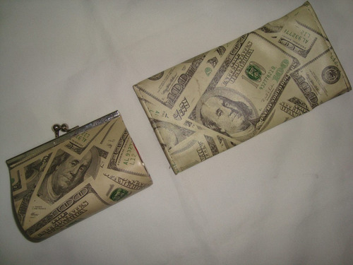monedero y porta cheques impreso billete 100 dolares usadas