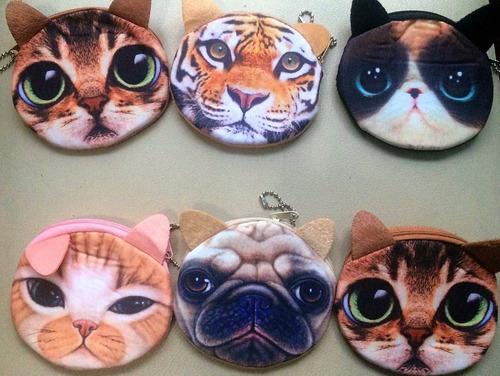 monederos de animales, gatos, perro, tigre, puma