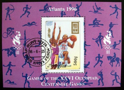 mongolia basquet, bloque sc. 2246a 1996 usado l6632