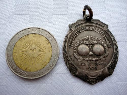 monijor62- argentinos medalla federacion  bochas 1942 plata