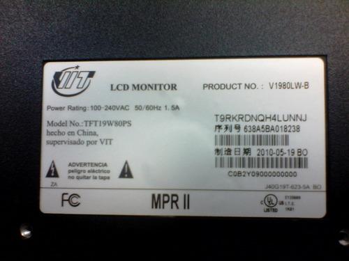 monitor 19 pulgadas v1980lw-b oferta listo para usar