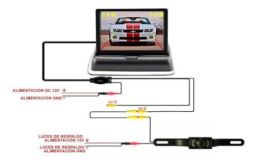 monitor 4pulg + camara de reversa para portaplacas