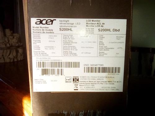 monitor acer 20 pulgadas hd-led mod-s200hl