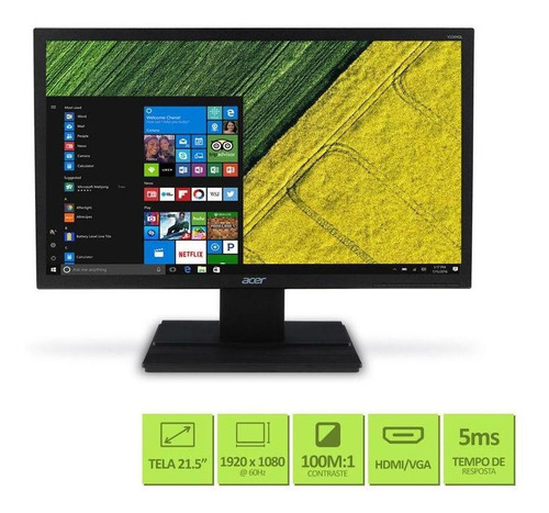 monitor acer 21.5  full hd (1920 x 1080) 60hz 5ms dvi hdmi