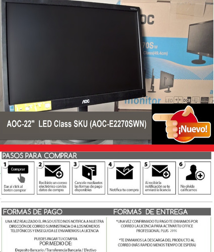 monitor aoc-22  led class(21.5  wide wiewble