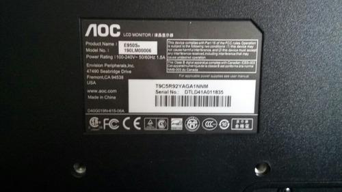 monitor aoc e950sn led 18,5 pulgadas