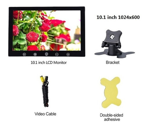 monitor automotivo lcd color 10 polegadas hdmi/vga/av/usb