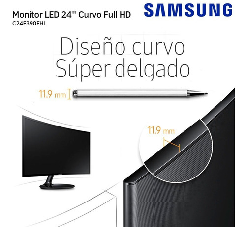 monitor curvo samsung led 24 f390 full hd slim vga hdmi